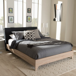 Baxton Studio Adelia Mid-Century Charcoal Grey Whitewash Queen Size Platform Bed Baxton Studio-Queen Bed-Minimal And Modern - 7