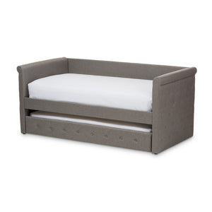 Baxton Studio Alena Modern and Contemporary Light Grey Fabric Daybed with Trundle Baxton Studio-daybed-Minimal And Modern - 1