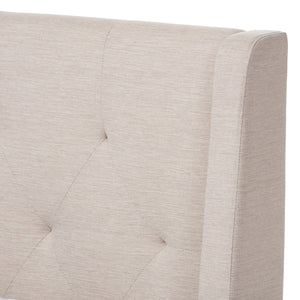 Baxton Studio Adelaide Retro Modern Light Beige Fabric Upholstered Full Size Platform Bed Baxton Studio-Full Bed-Minimal And Modern - 5