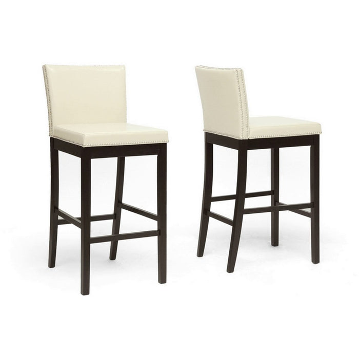 Baxton Studio Graymoor Cream Modern Bar Stool (Set of 2) Baxton Studio-Bar Stools-Minimal And Modern - 1