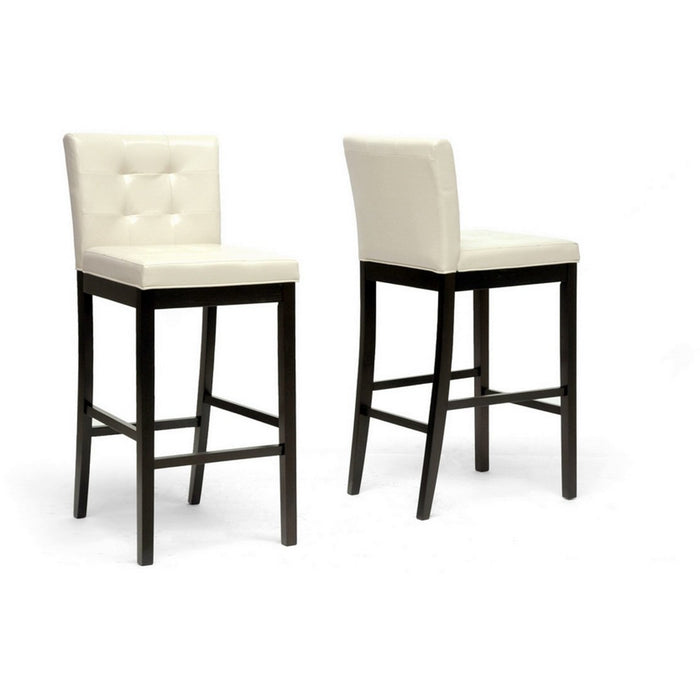 Baxton Studio Prospect Cream Modern Bar Stool (Set of 2) Baxton Studio-Bar Stools-Minimal And Modern - 1