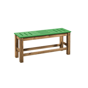 "Manhattan Comfort Mid- Century Modern 2-Piece Stillwell 37.8"" Bench in Green and Natural WoodManhattan Comfort-Bench- - 1"
