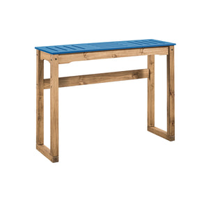 "Manhattan Comfort Mid- Century Modern Stillwell 47.3"" Bar Table  in Blue and Natural WoodManhattan Comfort-Bar Table- - 1"