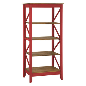 "Manhattan Comfort Jay 31.5"" Solid Wood Bookcase with 4 Shelves in Red WashManhattan Comfort-Office- - 1"