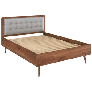 "Manhattan Comfort Rustic -Modern 62"" Tufted Bedford 2.0 Queen-size Bed Frame with Headboard in Solid Pine Wood in Varnish and GreyManhattan Comfort-Bed Frame- - 1"