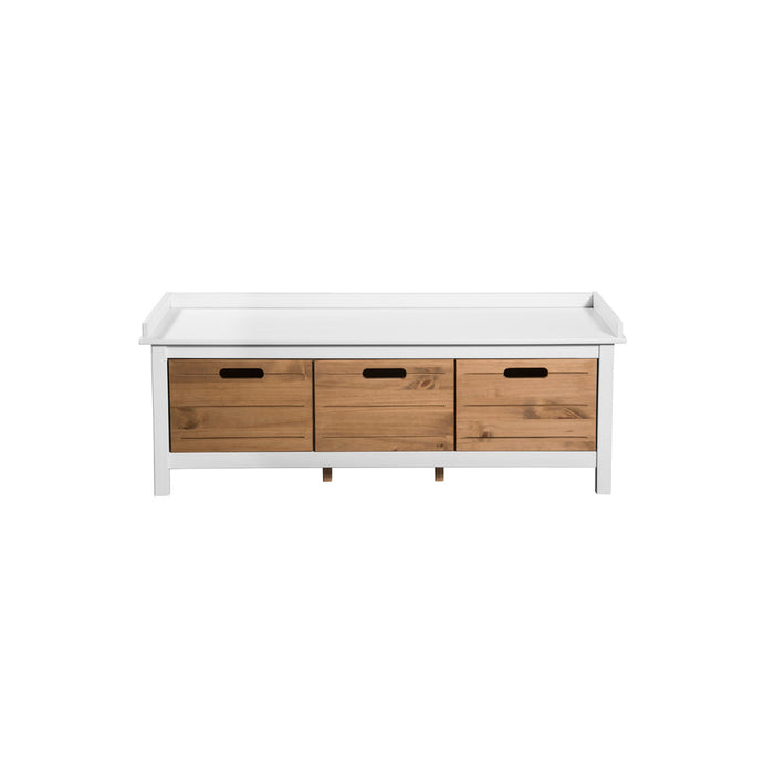 Manhattan Comfort Mid-Century Modern-Rustic  3-Drawer Irving Storage Bench Entryway 1.0 in White and Natural WoodManhattan Comfort-Entryway Bench - - 1