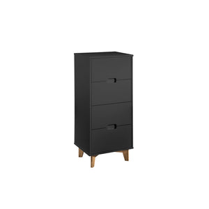 "Manhattan Comfort Modern 4-Drawer Glenmore 41.14"" Tall Dresser in Dark Grey and Natural WoodManhattan Comfort-Dresser - - 1"