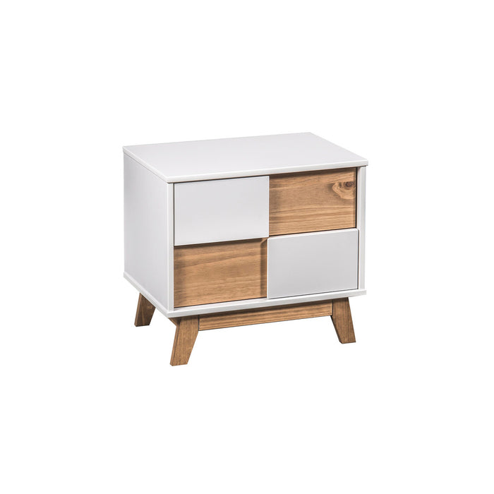 Manhattan Comfort Mid- Century Rustic Modern Livonia 2-Drawer Nightstand in White and Natural WoodManhattan Comfort-Nightstand- - 1