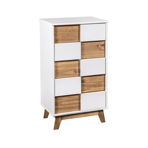 "Manhattan Comfort Mid- Century Rustic Modern 5-Drawer Livonia 36.22"" High Dresser  in White and Natural WoodManhattan Comfort-Dresser - - 1"