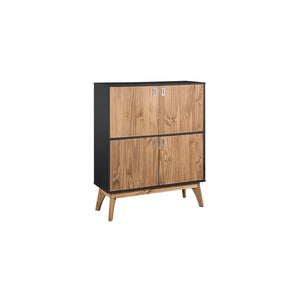 "Manhattan Comfort Rustic Mid-Century Modern Jackie 49.4"" High Dresser Cabinet in Dark Grey and Natural WoodManhattan Comfort-Dresser- - 1"