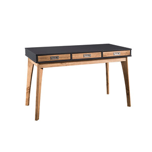 Manhattan Comfort Rustic Mid-Century Modern 3-Drawer Jackie Home Office Desk in Dark Grey and Natural WoodManhattan Comfort-Entryway- - 1