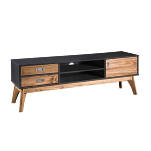 "Manhattan Comfort Rustic Mid-Century Modern 3-Drawer Jackie 59.05"" TV Stand in Dark Grey and Natural WoodManhattan Comfort-Theater Entertainment Centers- - 1"