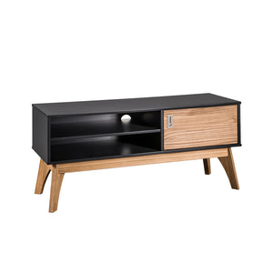 "Manhattan Comfort Rustic Mid-Century Modern Jackie 43.3"" TV Stand in Dark Grey and Natural WoodManhattan Comfort-Theater Entertainment Centers- - 1"