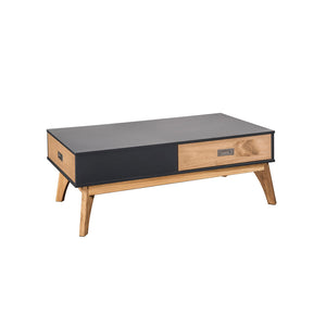 Manhattan Comfort Rustic Mid-Century Modern 2-Drawer Jackie 2.0 Coffee Table  in Dark Grey and Natural WoodManhattan Comfort-Coffee Table - - 1