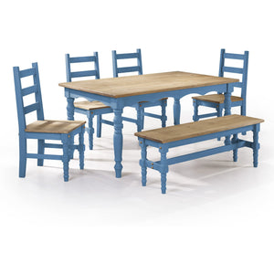 Manhattan Comfort Jay 6-Piece Solid Wood Dining Set with 1 Bench, 4 Chairs, and 1 Table in Blue Wash-Minimal & Modern