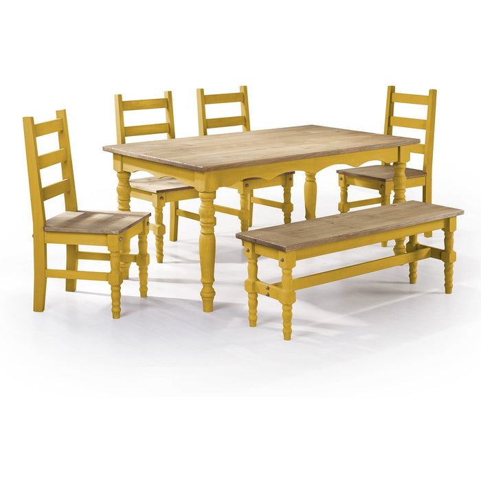 Manhattan Comfort Jay 6-Piece Solid Wood Dining Set with 1 Bench, 4 Chairs, and 1 Table in Yellow Wash-Minimal & Modern