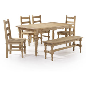 Manhattan Comfort Jay 6-Piece Solid Wood Dining Set with 1 Bench, 4 Chairs, and 1 Table in Nature-Minimal & Modern