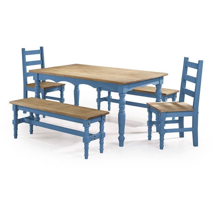 Manhattan Comfort Jay 5-Piece Solid Wood Dining Set with 2 Benches, 2 Chairs, and 1 Table in Blue Wash-Minimal & Modern