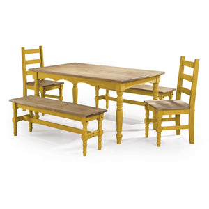 Manhattan Comfort Jay 5-Piece Solid Wood Dining Set with 2 Benches, 2 Chairs, and 1 Table in Yellow Wash-Minimal & Modern