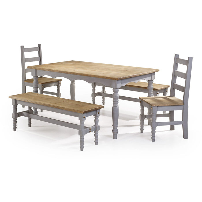 Manhattan Comfort Jay 5-Piece Solid Wood Dining Set with 2 Benches, 2 Chairs, and 1 Table in Gray Wash-Minimal & Modern