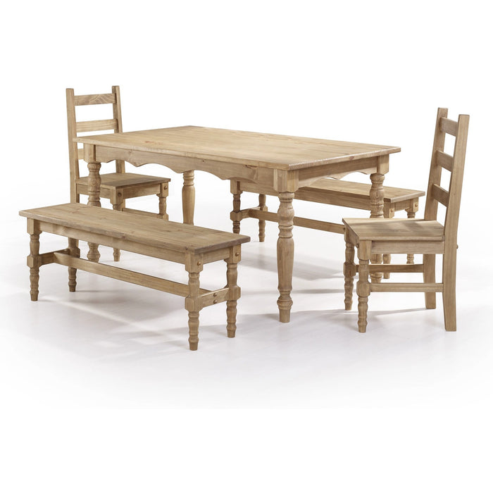 Manhattan Comfort Jay 5-Piece Solid Wood Dining Set with 2 Benches, 2 Chairs, and 1 Table in Nature-Minimal & Modern