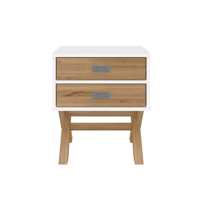 Manhattan Comfort Rustic Mid-Century Modern 2-Drawer Barclay Nightstand in White and Natural WoodManhattan Comfort-Nightstand- - 1