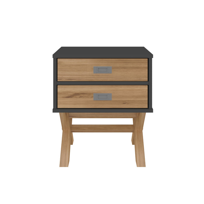 Manhattan Comfort Rustic Mid-Century Modern 2-Drawer Barclay Nightstand in Black and Natural WoodManhattan Comfort-Nightstand- - 1