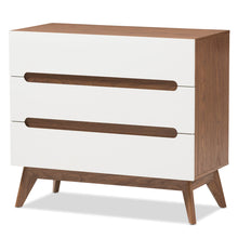 Baxton Studio Calypso Mid-Century Modern White and Walnut Wood 3-Drawer Storage Chest Baxton Studio-Dresser-Minimal And Modern - 2