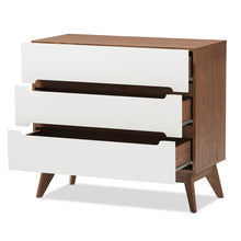 Baxton Studio Calypso Mid-Century Modern White and Walnut Wood 3-Drawer Storage Chest Baxton Studio-Dresser-Minimal And Modern - 3