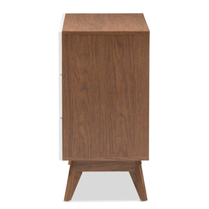 Baxton Studio Calypso Mid-Century Modern White and Walnut Wood 3-Drawer Storage Chest Baxton Studio-Dresser-Minimal And Modern - 5