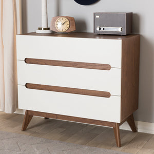 Baxton Studio Calypso Mid-Century Modern White and Walnut Wood 3-Drawer Storage Chest Baxton Studio-Dresser-Minimal And Modern - 1