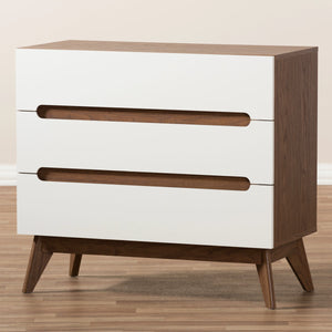 Baxton Studio Calypso Mid-Century Modern White and Walnut Wood 3-Drawer Storage Chest Baxton Studio-Dresser-Minimal And Modern - 7