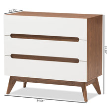 Baxton Studio Calypso Mid-Century Modern White and Walnut Wood 3-Drawer Storage Chest Baxton Studio-Dresser-Minimal And Modern - 8
