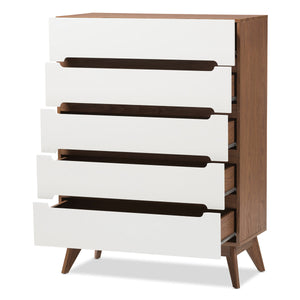 Baxton Studio Calypso Mid-Century Modern White and Walnut Wood 5-Drawer Storage Chest Baxton Studio-Dresser-Minimal And Modern - 3