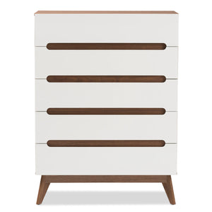 Baxton Studio Calypso Mid-Century Modern White and Walnut Wood 5-Drawer Storage Chest Baxton Studio-Dresser-Minimal And Modern - 4