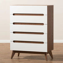 Baxton Studio Calypso Mid-Century Modern White and Walnut Wood 5-Drawer Storage Chest Baxton Studio-Dresser-Minimal And Modern - 7