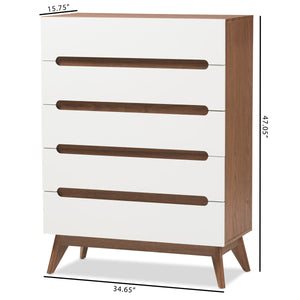 Baxton Studio Calypso Mid-Century Modern White and Walnut Wood 5-Drawer Storage Chest Baxton Studio-Dresser-Minimal And Modern - 8