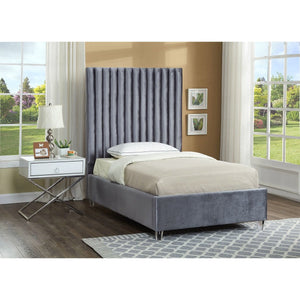 Meridian Furniture Candace Grey Velvet Twin Bed-Minimal & Modern