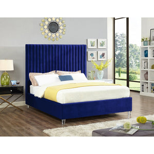Meridian Furniture Candace Navy Velvet Queen Bed-Minimal & Modern