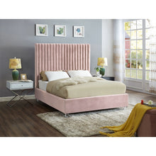 Meridian Furniture Candace Pink Velvet Queen Bed-Minimal & Modern