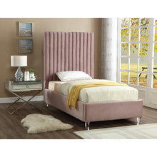 Meridian Furniture Candace Pink Velvet Twin Bed-Minimal & Modern