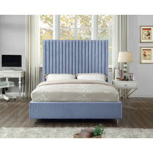 Meridian Furniture Candace Sky Blue Velvet Queen Bed-Minimal & Modern