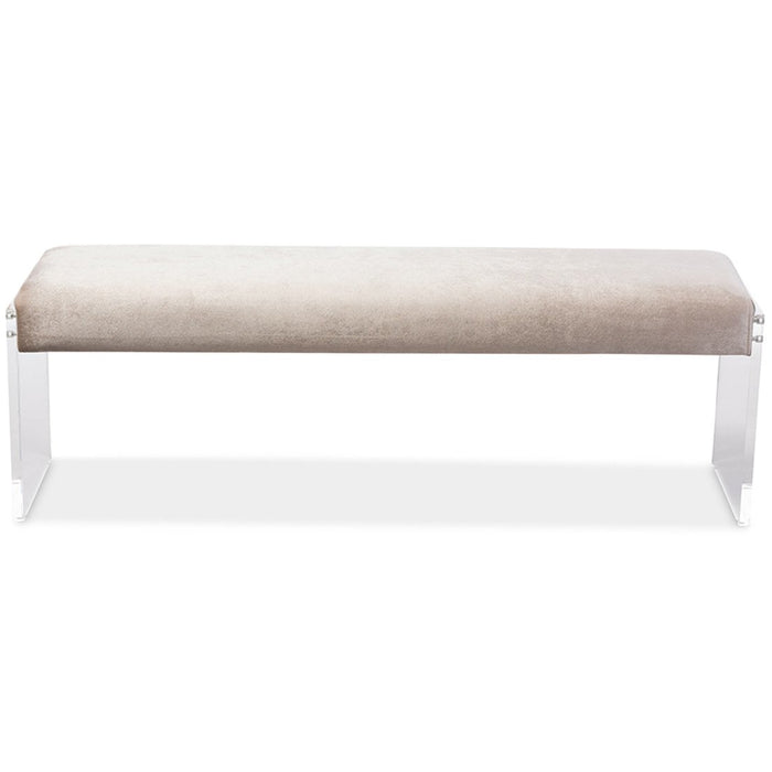 Baxton Studio Hildon Modern and Contemporary Beige Microsuede Fabric Upholstered Lux Bench with Paneled Acrylic Legs Baxton Studio-benches-Minimal And Modern - 1