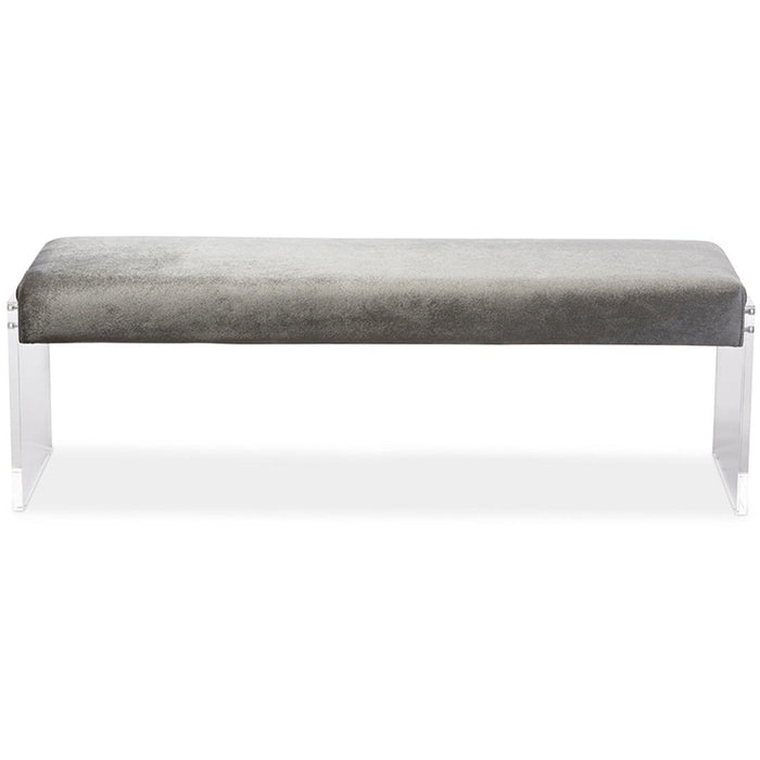 Baxton Studio Hildon Modern and Contemporary Grey Microsuede Fabric Upholstered Lux Bench with Paneled Acrylic Legs Baxton Studio-benches-Minimal And Modern - 1