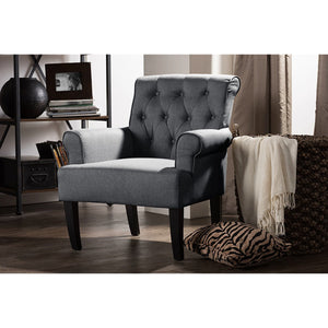 Baxton Studio Barret Modern and Contemporary Grey Linen Fabric Upholstered Rolled-Arm Button-tufting Accent Club Chair Baxton Studio-chairs-Minimal And Modern - 6