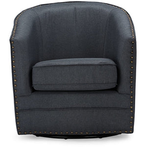 Baxton Studio Porter Modern and Contemporary Classic Retro Grey Fabric Upholstered Swivel Tub Chair Baxton Studio-chairs-Minimal And Modern - 1