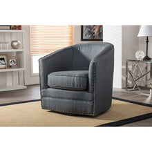 Baxton Studio Porter Modern and Contemporary Classic Retro Grey Fabric Upholstered Swivel Tub Chair Baxton Studio-chairs-Minimal And Modern - 5