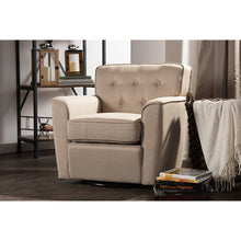Baxton Studio Canberra Modern Retro Contemporary Beige Fabric Upholstered Button-tufted Swivel Lounge Chair with Arms Baxton Studio-chairs-Minimal And Modern - 6