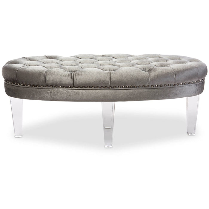 Baxton Studio Edna Modern and Contemporary Oval Grey Microsuede Fabric Upholstered Lux Tufted Ottoman Bench with Acrylic Legs Baxton Studio-benches-Minimal And Modern - 1