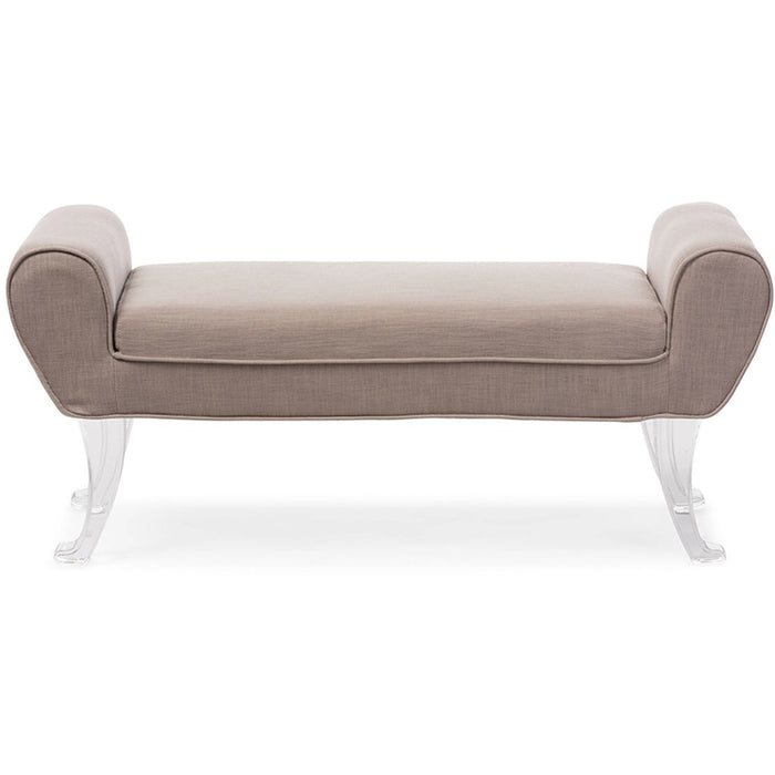 Baxton Studio Emerson Modern and Contemporary Beige Linen Upholstered Lux Ottoman Bench with Flared Acrylic Legs Baxton Studio-benches-Minimal And Modern - 1